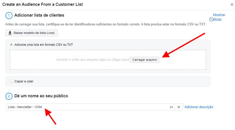 Como fazer o upload da lista de clientes